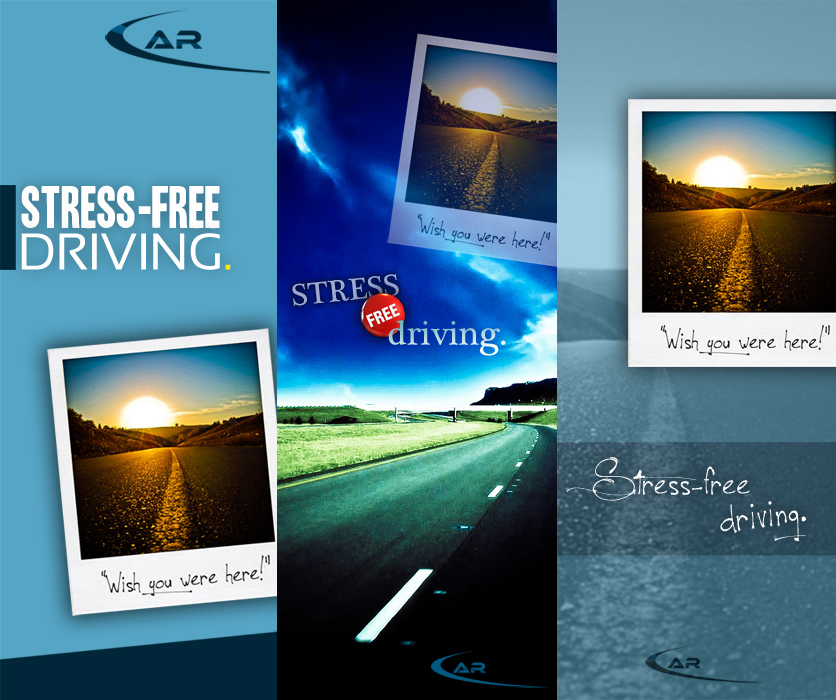 stress free driving banner design