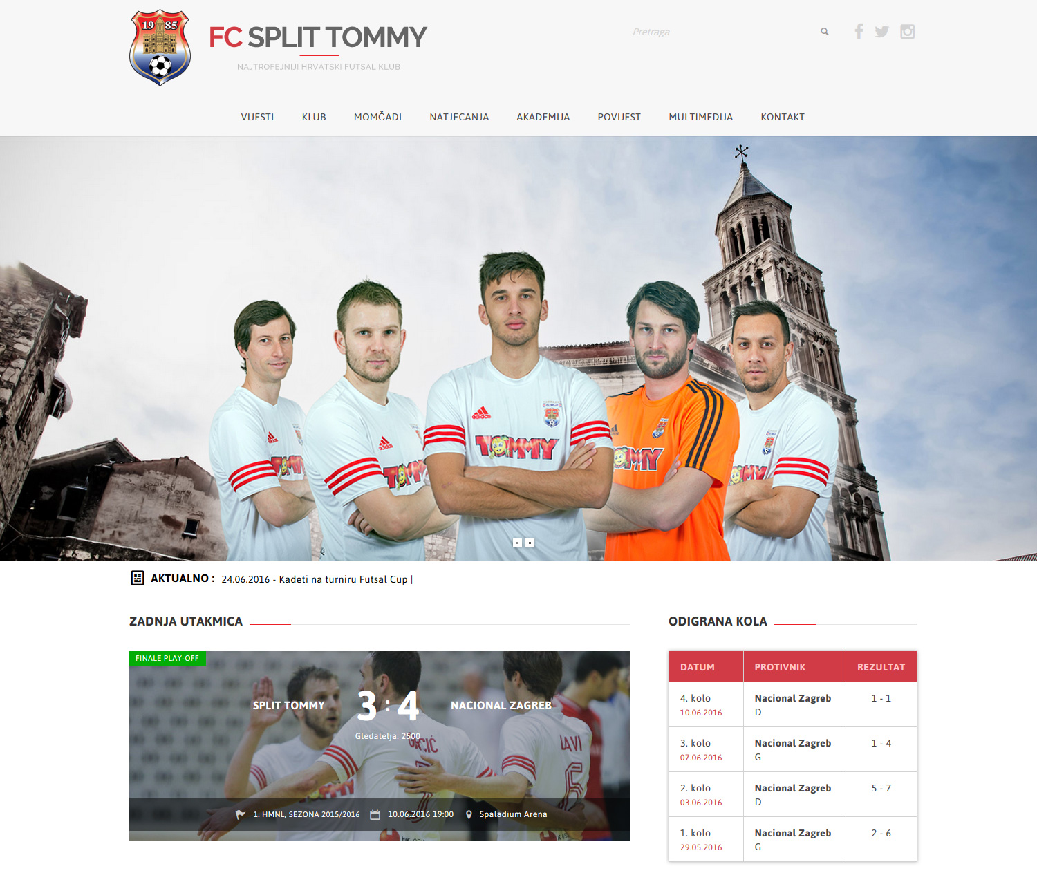 futsal club website design