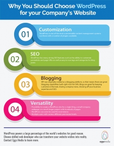 why choose wordpress for company website eggsmedia infographic