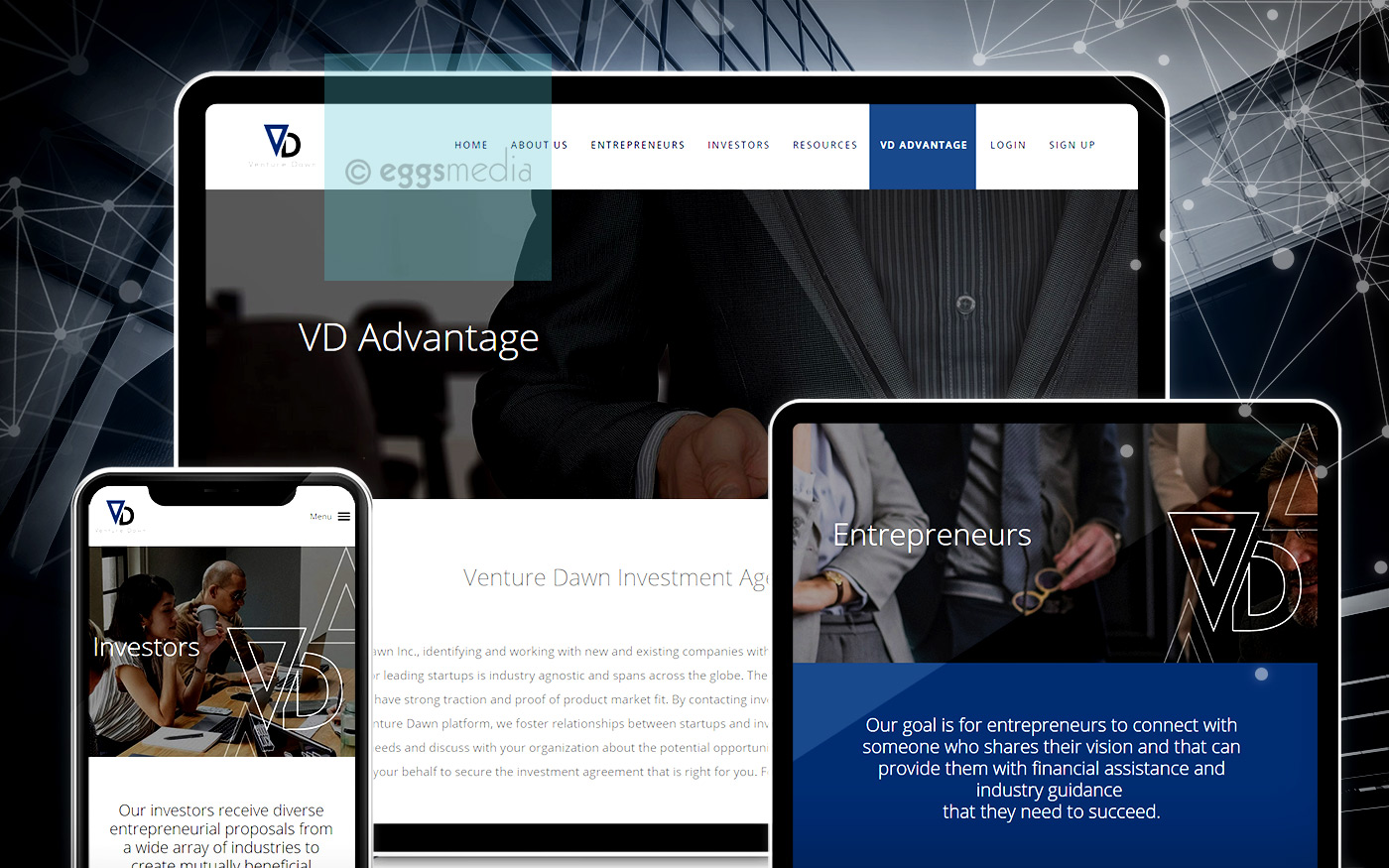 eggs media project technology website venture dawn connecting entrepreneurs and investors