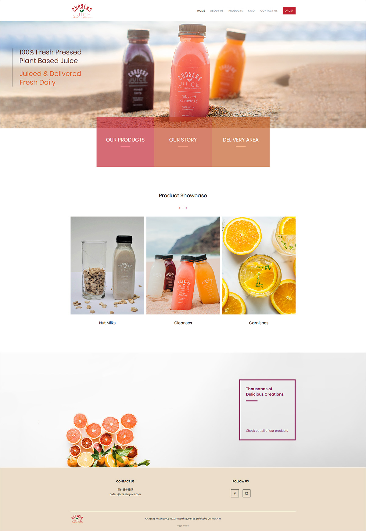 eggs media case study chasers juice new website after