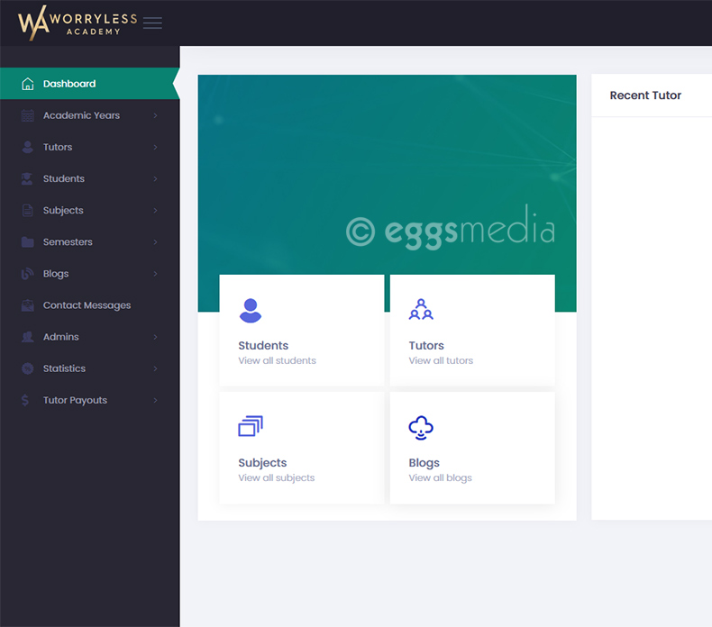 eggs media custom web development toronto project worryless academy